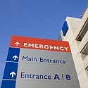 Modern hospital and emergency sign